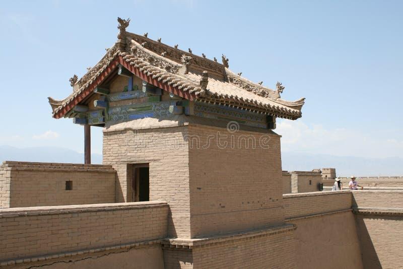 Fortaleza china antigua de la Gran Muralla de Jia Yu Guan imagenes de archivo