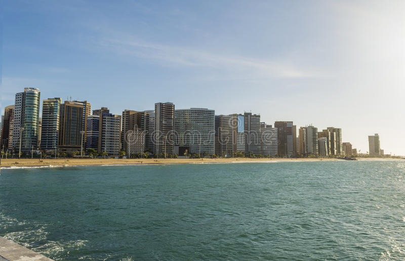 Fortaleza city skyline viewed from the sea, beach, buildings, summer. Photo of Fortaleza city skyline, Praia de Iracema royalty free stock photos