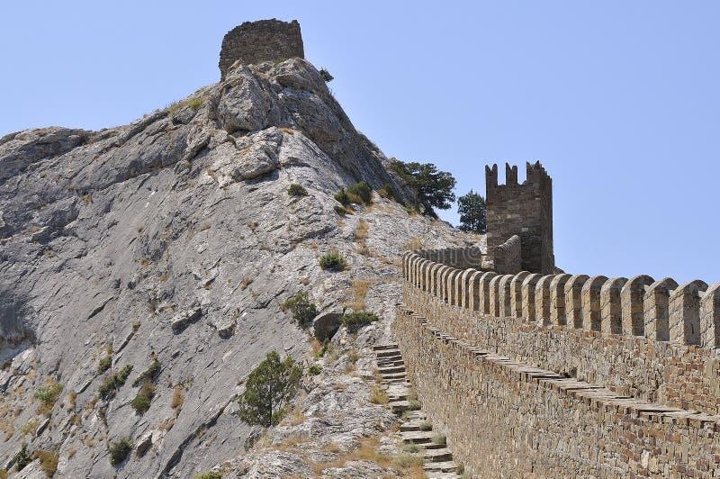 Fortaleza da montanha (fortaleza Genoese) foto de stock
