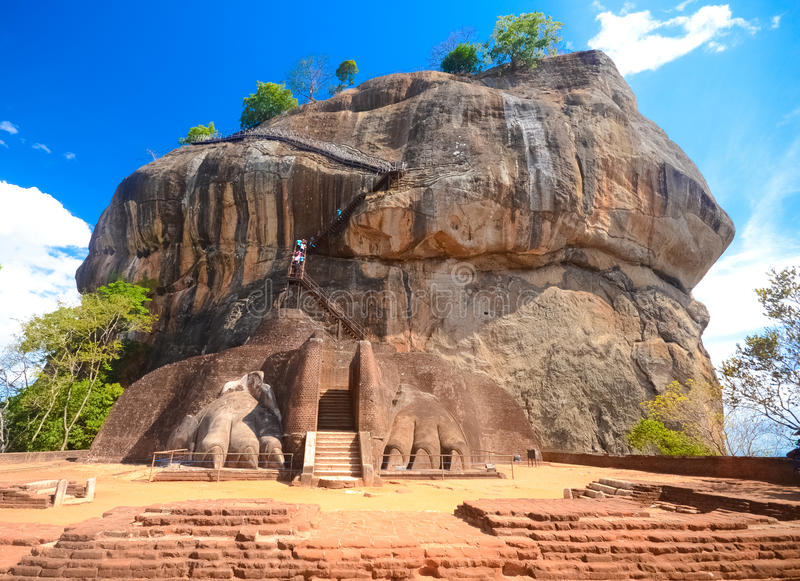 Fortaleza da rocha de Sigiriya, Sri Lanka. fotos de stock royalty free