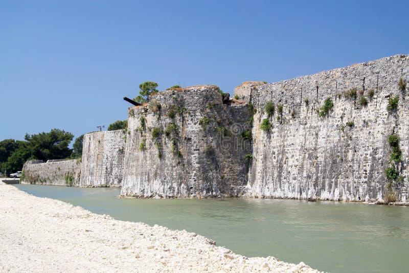 Fortaleza de Agia Mavra cerca de la isla griega de Lefkada imágenes de archivo libres de regalías