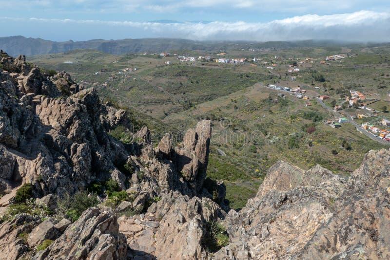 Fortaleza de Chipude, mountain on La Gomera Island. View from Fortaleza de Chipude, a mountain on La Gomera Island, Canary Islands, Spain stock photos