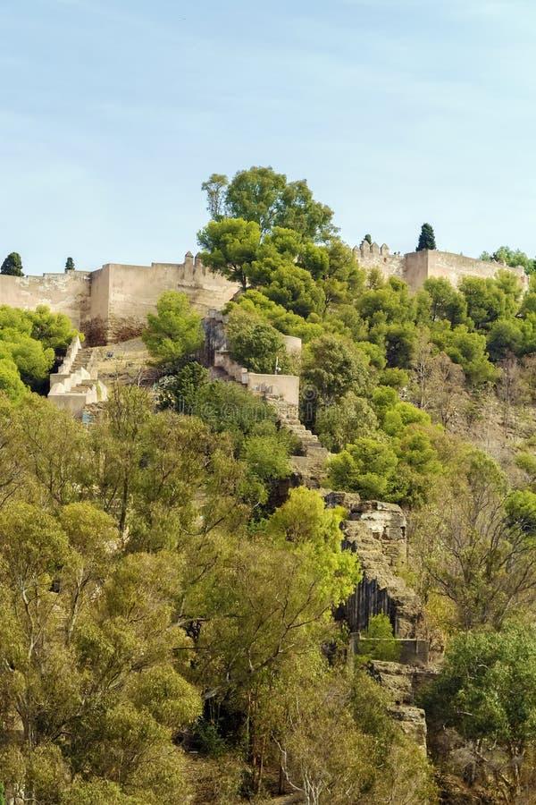 Fortaleza de Gibralfaro em Malaga, Espanha imagens de stock