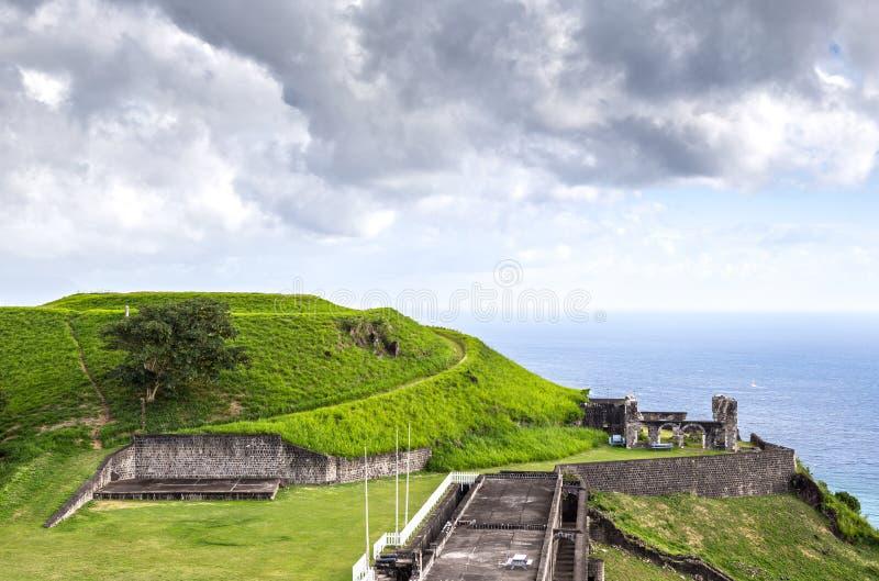 Fortaleza de la colina del azufre en St San Cristobal imagen de archivo