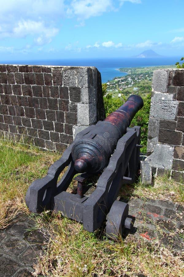 Fortaleza de la colina del azufre - santo San Cristobal foto de archivo