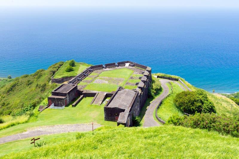 Fortaleza de la colina del azufre, St San Cristobal y Nevis fotografía de archivo