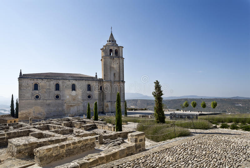 Fortaleza de La Mota Major Abbey Church. View of the ruins and the Major Abbey Church (Iglesia Mayor Abacial) constructed during the 15th and 16th centuries, in stock image