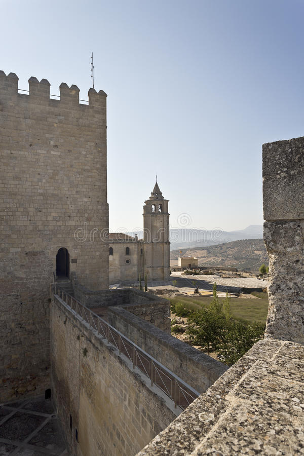 Fortaleza de La Mota Major Abbey Church. View of the Abbey from the walls of the Alcazar in the Fortaleza de La Mota, Spain royalty free stock image