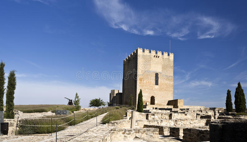 Fortaleza de La Mota. View of the Alcazar tower of homage inside the Fortaleza de La Mota near the town of Alcala la Real, Spain stock photos