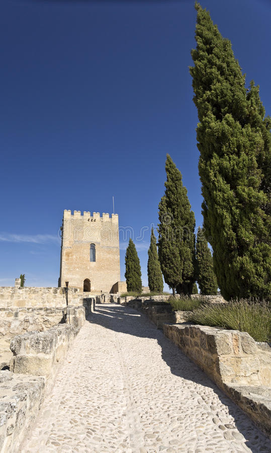 Fortaleza de La Mota. View of the Alcazar tower of homage inside the Fortaleza de La Mota near the town of Alcala la Real, Spain stock image