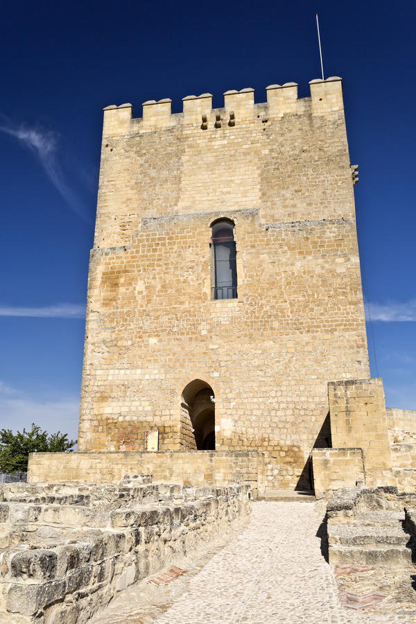 Fortaleza de La Mota. View of the Alcazar tower of homage inside the Fortaleza de La Mota near the town of Alcala la Real, Spain stock photography