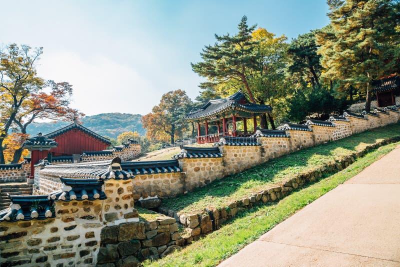 Fortaleza de Namhansanseong, vieja arquitectura tradicional coreana fotografía de archivo libre de regalías