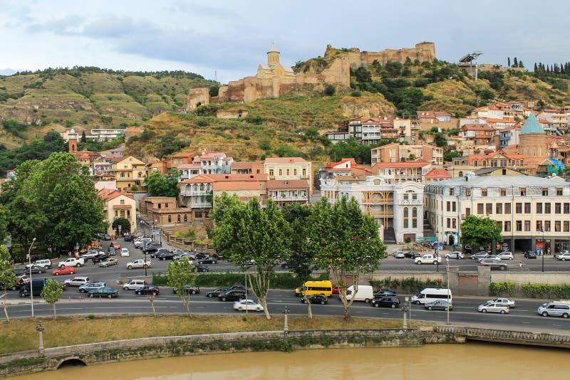 Fortaleza de Narikala do panorama de Tbilisi imagem de stock