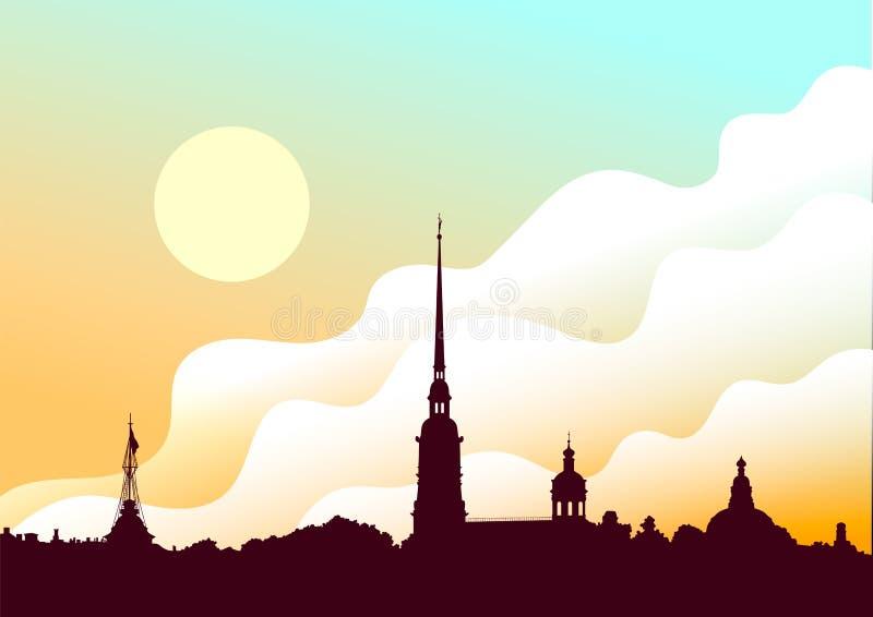 Fortaleza de Peter e de Paul, St Petersburg, Rússia Vista do rio de Neva Fundo do vetor da silhueta da arquitetura da cidade do r ilustração do vetor