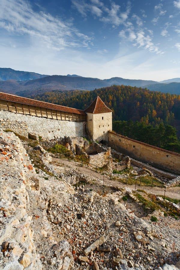 Fortaleza de Rasnov em Romania fotos de stock