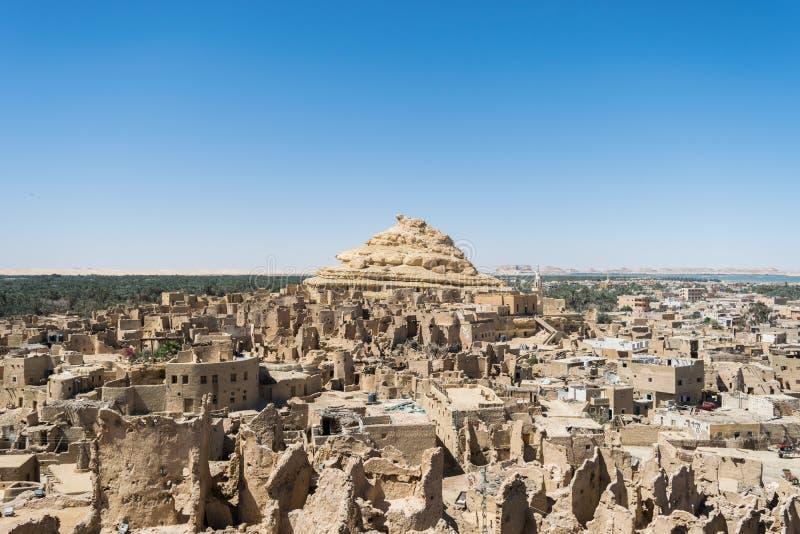 Fortaleza de Shali Schali a cidade velha de oásis de Siwa em Egito fotografia de stock