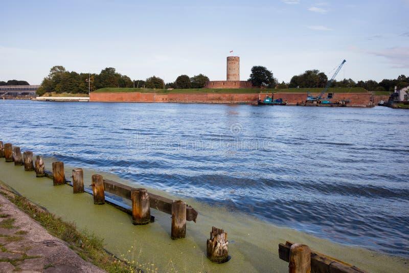 Fortaleza de Wisloujscie em Vistula River inoperante em Gdansk foto de stock royalty free