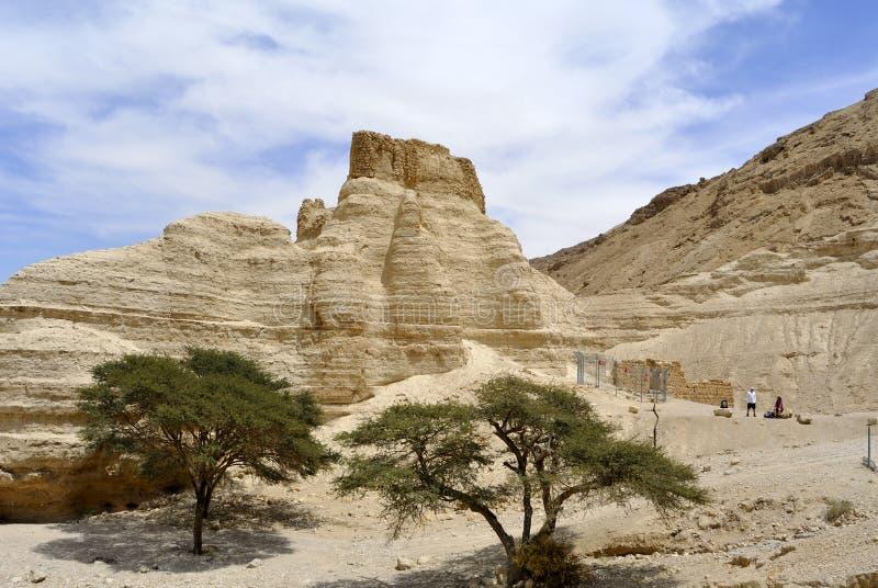 Fortaleza de Zohar no deserto de Judea. imagens de stock