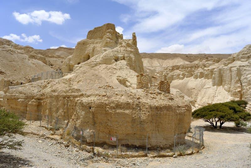 Fortaleza de Zohar no deserto de Judea. imagens de stock royalty free