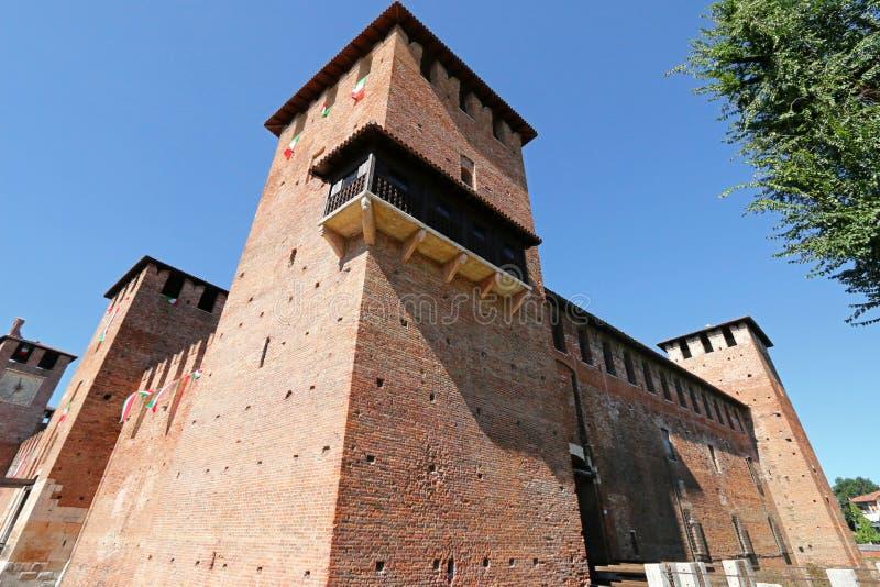 Fortaleza del castillo (Castelvecchio) en Verona, Italia imágenes de archivo libres de regalías