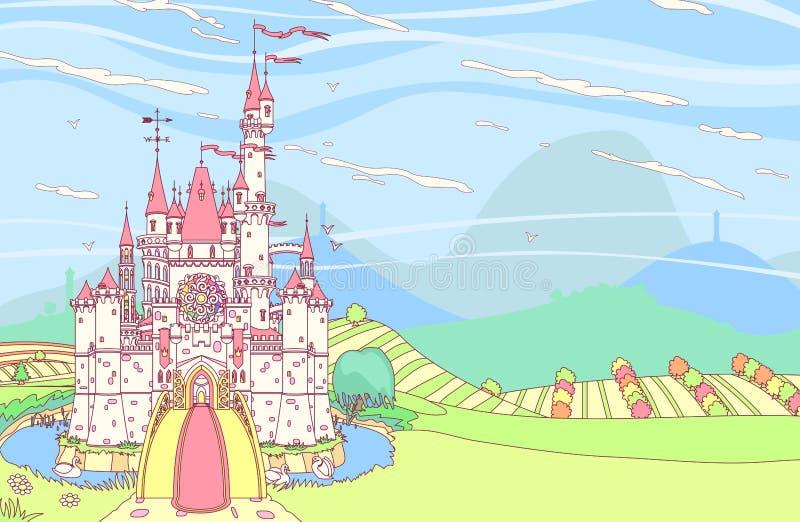 Fortaleza del castillo del cuento de hadas del vector stock de ilustración