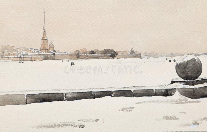 Fortaleza do inverno St Petersburg, do Peter e do Paul e desenho gelo-coberto da Neva-aquarela ilustração stock