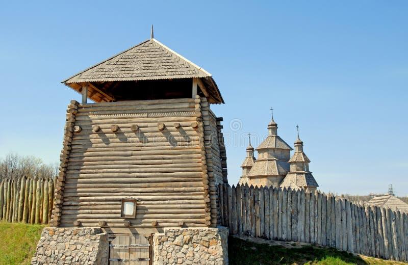 Fortaleza do Kazak, Khortitsa, Zaporizhzhya, Ucrânia foto de stock