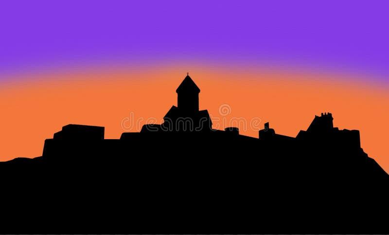 Fortaleza do narikala da silhueta da ilustração imagem de stock