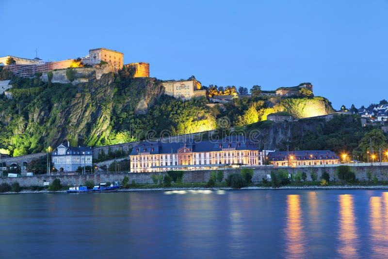 Fortaleza Ehrenbreitstein em Koblenz imagens de stock