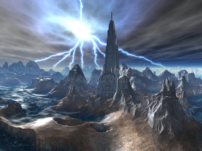 Fortaleza estrangeira abandonada na tempestade ilustração do vetor