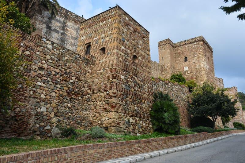 Fortaleza Gibralfaro em Malaga, a Andaluzia foto de stock royalty free