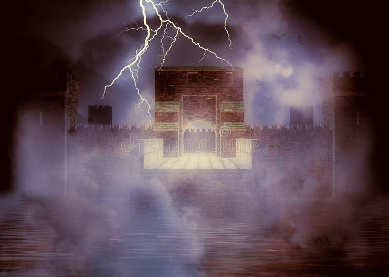 Fortaleza medieval en la niebla libre illustration