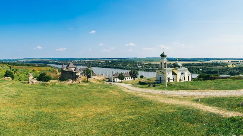 Fortaleza medieval na cidade Ucrânia ocidental de Khotyn foto de stock royalty free