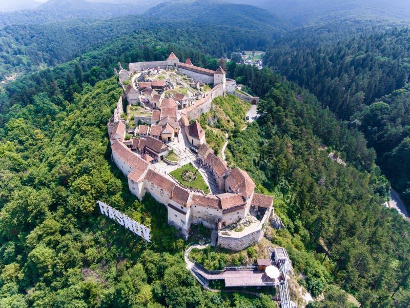Fortaleza medieval Rasnov na Transilvânia, Romênia fotos de stock royalty free