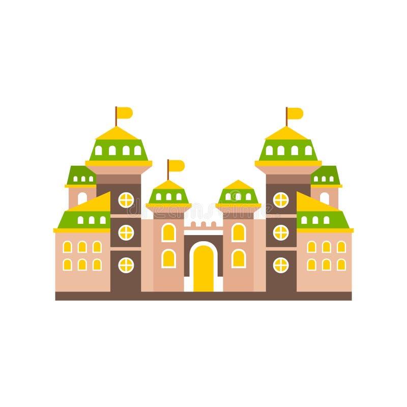 Fortaleza o ciudadela colorida con la pared y las torres fortificadas, ejemplo medieval del vector del edificio libre illustration