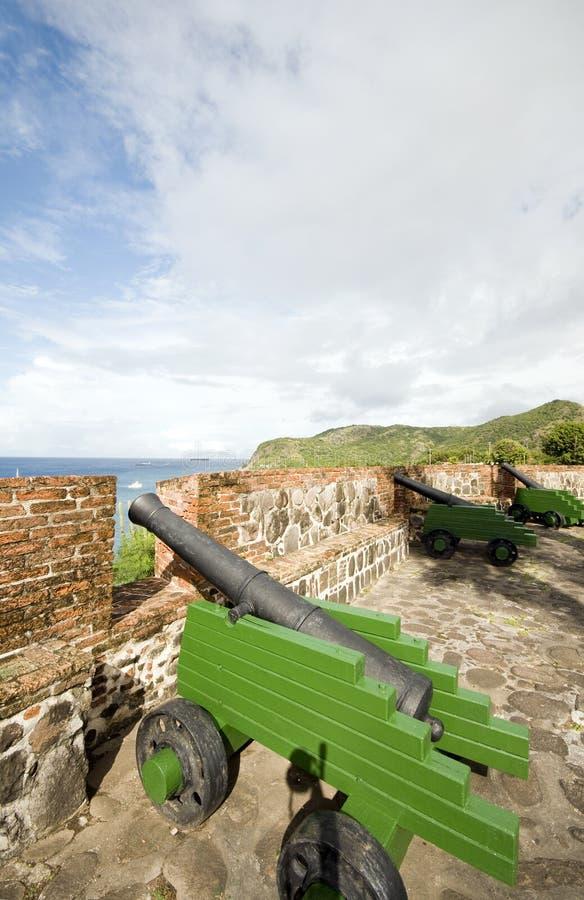 Fortaleza Oranje Oranjestad Sint Eustatius de los cañones foto de archivo