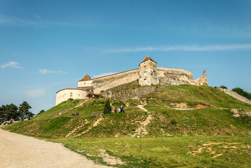 Fortaleza saxona medieval Rasnov A Transilvânia, Romania foto de stock royalty free