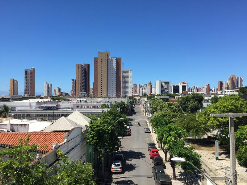 Fortaleza. Street view towards the new buildings stock photography