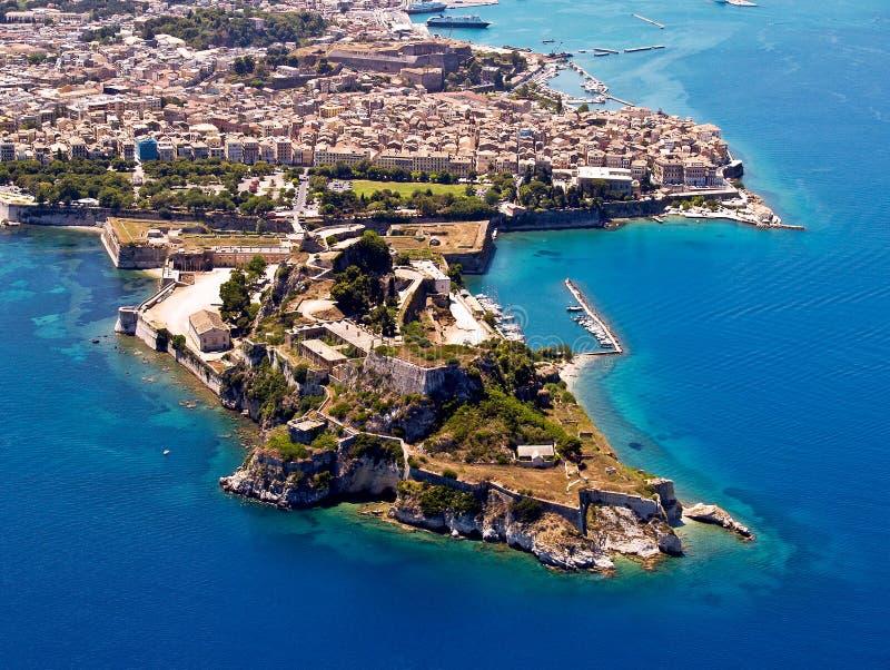 Fortaleza velha, Corfu, vista aérea fotografia de stock royalty free