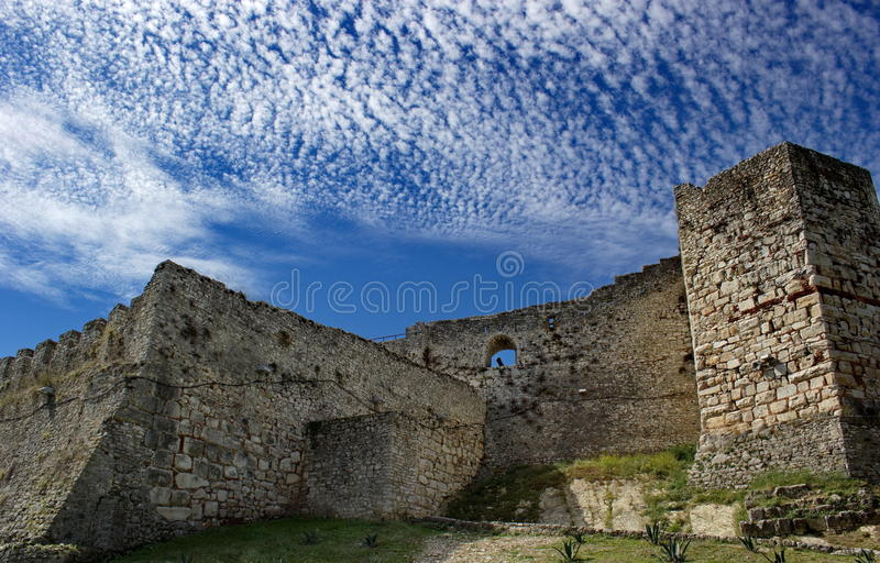 Fortaleza velha em Berat, Albânia fotografia de stock