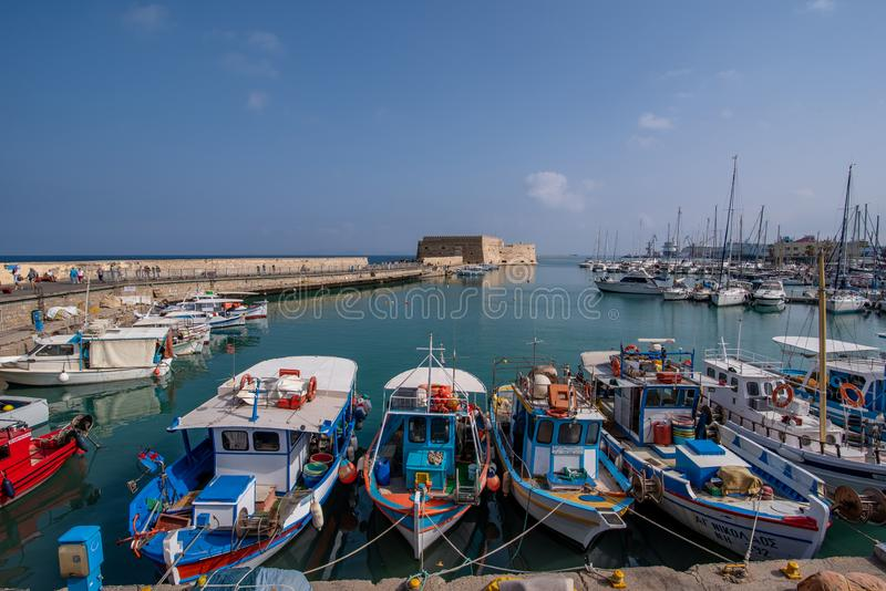 Fortaleza veneciana vieja en la ciudad de Heraklion, Creta de Koules Tapa v imagenes de archivo
