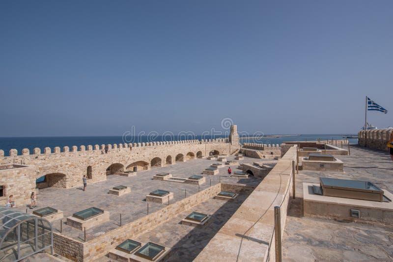Fortaleza veneciana vieja en la ciudad de Heraklion, Creta de Koules Tapa v imágenes de archivo libres de regalías
