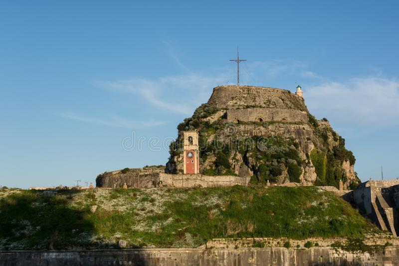 A fortaleza Venetian velha em Kerkyra, ilha de Corfu, Grécia foto de stock royalty free