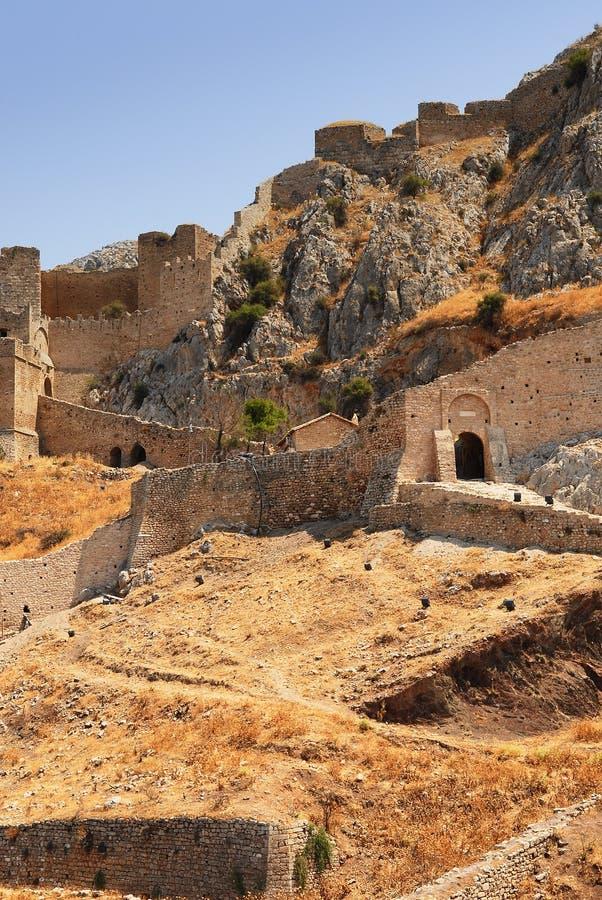 Fortaleza vieja en Corinth, Grecia foto de archivo