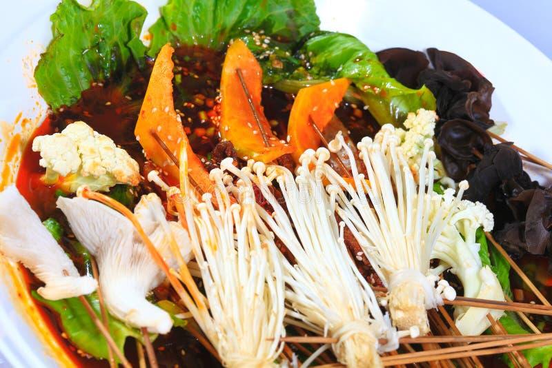 Fortalezca el fungu comestible del árbol de la seta del enoki de la secuencia del melón de invierno de la secuencia imagenes de archivo