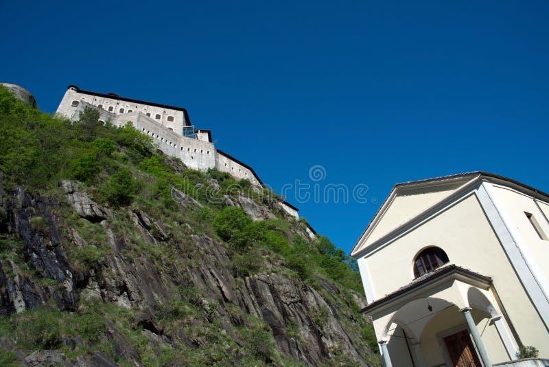 Fortbard, Aosta-Vallei, Italië stock afbeeldingen
