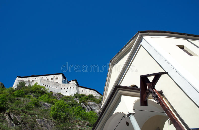 Fortbard, Aosta-Vallei, Italië royalty-vrije stock foto's