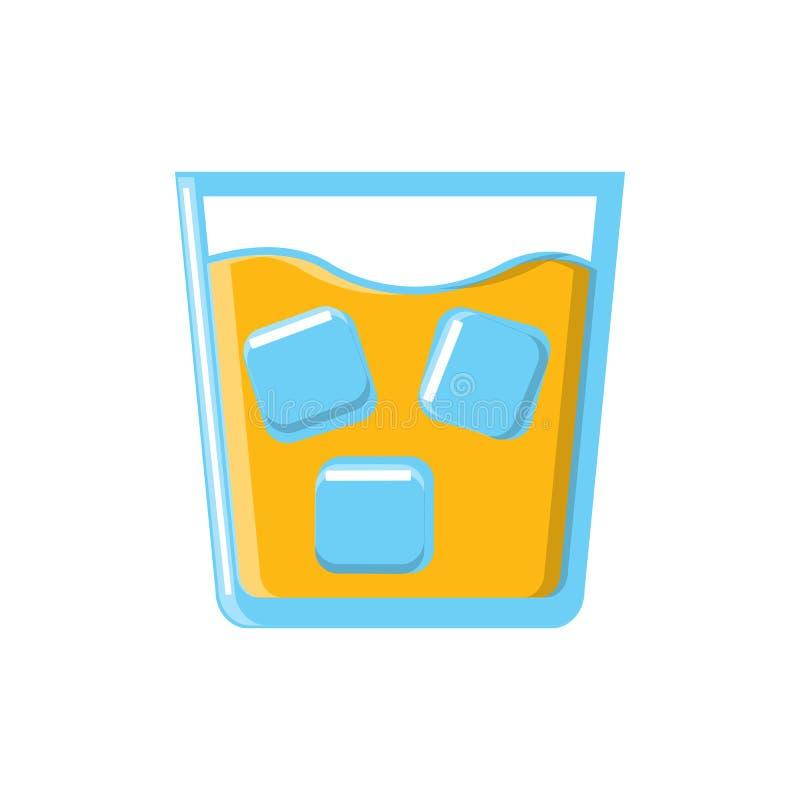 Forte bevanda succosa saporita alcolica del cocktail in vetro con whiskey con l'icona del ghiaccio su fondo bianco Illustrazione  royalty illustrazione gratis