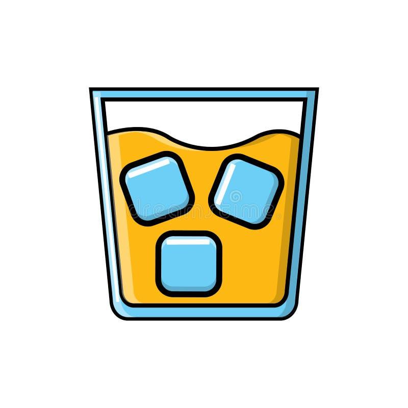 Forte bevanda succosa saporita alcolica del cocktail in vetro con whiskey con l'icona del ghiaccio su fondo bianco Illustrazione  illustrazione vettoriale