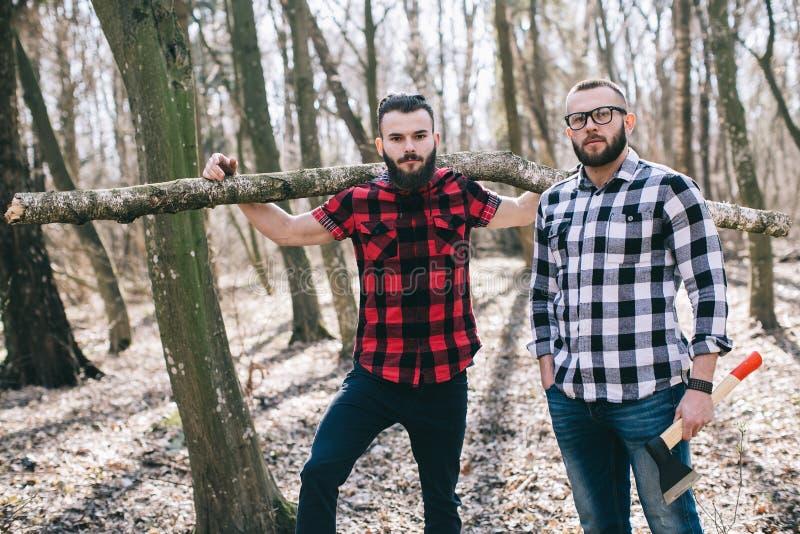 Forte boscaiolo che taglia legno a pezzi immagine stock libera da diritti